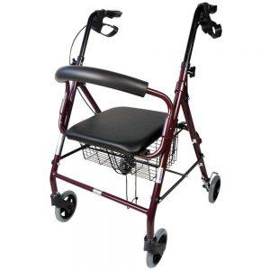 Andador con 4 ruedas y cesta